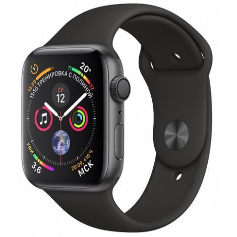 Apple Watch Series 4, 40 мм, корпус из алюминия цвета «серый космос», спортивный ремешок черного цвета